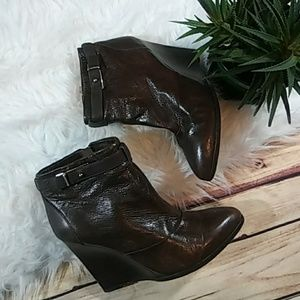 Leather Brown Coach Booties